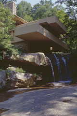 "F. L. WRIGHT, BEAR RUN: ""PARALLEL FLATS, CONCRETE AND ROKS"""